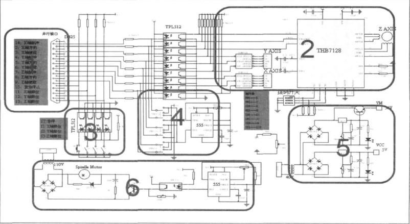 一帆电脑雕刻机接口电路原理图